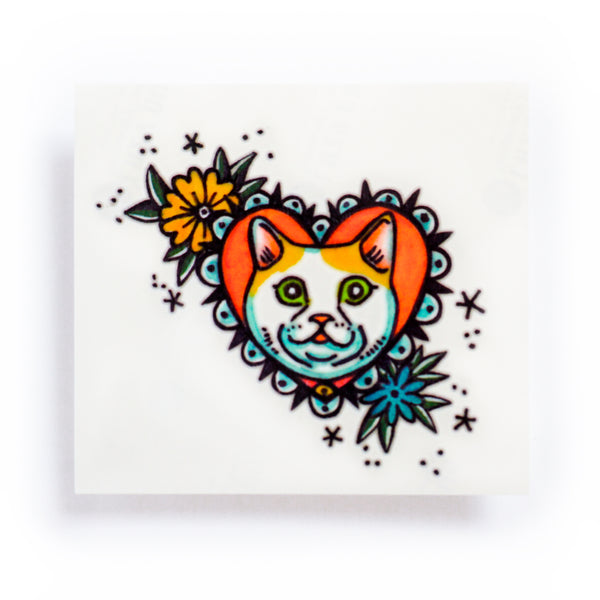 LAZY DUO Pop Color Old School Cat Tattoo Sticker Couple Tattoo Matching Funny Cat Black & Yellow Cat Tattoo 彩色貓刺青紋身情侶香港紋身貼紙印刷訂做客製 Custom Temporary Tattoo artist HK tattoo shop Hong Kong 迷你刺青 韓式刺青紋身 small tattoo design Minimal Tattoo little tattoo idea sketchy tattoo floral tattoo ankle wrist tattoo back tattoo Taiwan