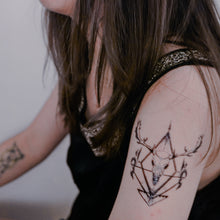 Load image into Gallery viewer, Gothic Deer Skull Tattoo - LAZY DUO TATTOO