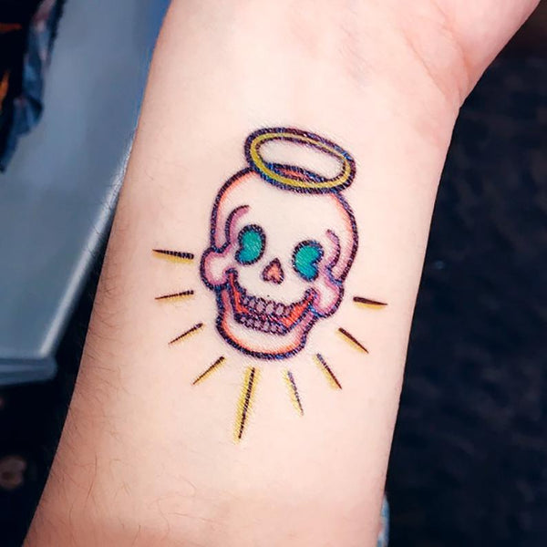 Skull Tattoo Angel Tattoo Devil Tattoo 彩色貓刺青紋身情侶 Pop Color Old School Cat Tattoo Sticker Couple Tattoo Matching Funny Cat Black & Yellow Cat Tattoo 香港刺青圖案紋身貼紙印刷訂做客製 Custom Temporary Tattoo artist HK tattoo shop Hong Kong 迷你刺青 韓式刺青紋身 small tattoo design Minimal Tattoo little tattoo idea sketchy tattoo floral tattoo ankle wrist tattoo back tattoo Taiwan