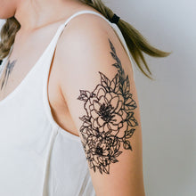 Load image into Gallery viewer, Line Flower Tattoos - LAZY DUO TATTOO