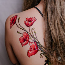 Load image into Gallery viewer, Large Red Poppy Flower Tattoo|LAZY DUO TEMPORARY TATTOO STICKER SHOP HK Tattoo Design Store HK HONG KONG Rib Tattoo 紋身貼紙 香港紋身認領圖 文青 美式花紋身tattoohk hongkongtattoo 小圖刺青 fine-line tattoo 簡約刺青 minitattoo linetattoo tattooartist 香港刺青 MANE INK