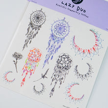 Load image into Gallery viewer, Floral Dreamcatcher Tattoo Realistic Artistic Tattoo Sticker Color Metallic Tattoo預約紋身貼紙專業優質色彩印刷訂製作DIY Waiman Tattoo Artist 香港原創手繪刺青紋身貼紙 LAZY DUO Premium High Quality Temporary Tattoo Stickers Professional Printing Tattoo Shop Hong Kong Customise Custom Small Order 自訂客製少量印刷大量批發特快專業優質彩色金屬色廣告宣傳禮品Gift 安全防水防敏無痛紋身師紋身店韓式小清新
