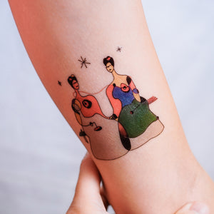 Surrealism Abstract Magic Surreal Fridas Tattoos Sticker in Joan Miro Style by LAZY DUO. Realistic, long lasting and non-toxic temporary tattoo HK 香港原創紋身貼紙品牌 安全無毒 防水防敏 持久像真 抽象藝術-馴鹿刺青紋身貼紙香港 Magic Surreal Abstract The Two Frida Kahlo Fine Art LAZY DUO TATTOO HK