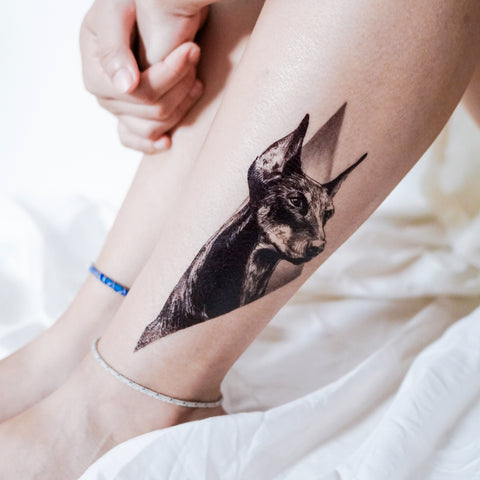 LAZY DUO Doberman Pinscher Tattoos Animal Temporary tattoos Dog Puppy Pet tattoos Geometry Tattoo Gift for him Men tattoos realistic Tattoos Artistic tattoo Minimal Tattoo 香港都柏文手繪動物紋身貼紙寵物刺青刀柏文守護犬幾何黑灰剌青貓狗紋身設計原創容製訂做印刷貼紙