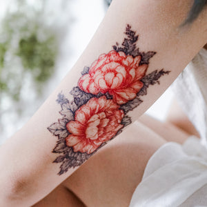 Old Hong Kong Vintage Peony Flower Tattoos - LAZY DUO TATTOO