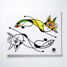 Load image into Gallery viewer, Surrealism Abstract Magic Surreal Capybara Tattoos Sticker in Joan Miro Style by LAZY DUO. Realistic, long lasting and non-toxic temporary tattoo HK 香港原創紋身貼紙品牌 安全無毒 防水防敏 持久像真 抽象藝術 狐狸刺青紋身貼紙香港 Magic Surreal Abstract Fox Fine Art LAZY DUO TATTOO SHOP HK
