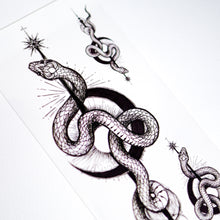 Load image into Gallery viewer, Alchemy Moon Snake & Peony Flower Tattoo - LAZY DUO TATTOO Alchemy Snake Moon and Rose Tattoos Peony Tattoos Tarot Tattoos Realistic tattoo Stickers Long Lasting Temporary Tattoos Skull Crown Tattoo Old School Tattoo American Tattoo HK Hong Kong Rose Tattoo Black Work Temporary Tattoo INK LAZY DUO 香港刺青紋身貼紙訂做印刷活動推廣 印水紙插畫設計 香港女紋身師Manyee 美式粗體 紋身蛇刺青 迷宮刺青 自由神秘塔羅刺青 玫瑰紋身 刺青王冠紋身 牡丹花刺青