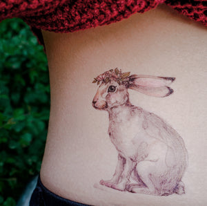 Watercolor Bunny with Flower Band Tattoos - LAZY DUO TATTOO