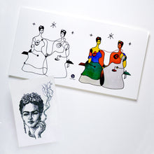 Load image into Gallery viewer, Surrealism Abstract Magic Surreal Fridas Tattoos Sticker in Joan Miro Style by LAZY DUO. Realistic, long lasting and non-toxic temporary tattoo HK 香港原創紋身貼紙品牌 安全無毒 防水防敏 持久像真 抽象藝術-馴鹿刺青紋身貼紙香港 Magic Surreal Abstract The Two Frida Kahlo Fine Art LAZY DUO TATTOO HK
