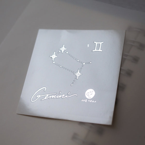 Gemini Tattoo Minimal Zodiac Sign Tattoos Witty Creative Eloquent curious Silver Metallic Tattoos UV Tattoo Sticker Zodiac Symbol Tattoos Minimal Tattoos LAZY DUO Realistic Temporary Tattoo HK Hong Kong 雙子座紋身星座刺青香港紋身店