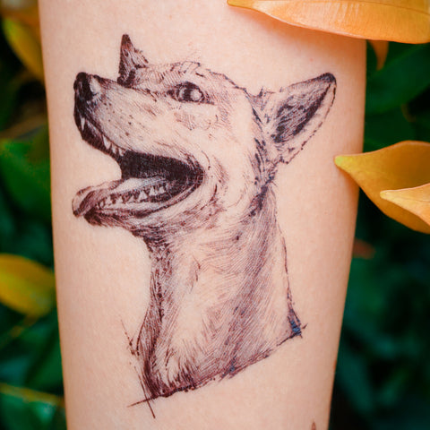 Mongrel Mixed Breed Doggie Puppy Dog Tattoo 香港唐狗混種犬紋身貼紙刺青圖案 HK LAZY DUO Delicate Temporary Tattoo Tattoo Sticker Hong Kong 女紋身師 印刷訂做客製 Custom Temporary Tattoo artist HK tattoo shop Hong Kong 迷你刺青 韓式刺青紋身