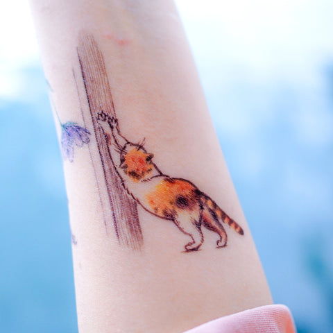 Cat Tattoo Paw Tattoo Kitten Tattoo Pet Tattoo Animal Tattoo Meow Tattoo Watercolor Tattoo Sticker Tatouage Temporary Tattoo HK Hong Kong Vintage Classic 復古美式經典水彩燕子刺青紋身 LAZY DUO Tattoo Sticker 香港紋身貼紙 刺青圖案 紋身師 印刷訂做客製 Custom Temporary Tattoo artist HK tattoo shop Hong Kong