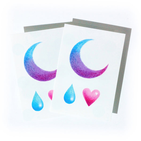 Moon Tattoo Rain Tattoo Gradient color tattoo Rain Tattoo Water Droplet Tattoo Minimal Tattoo Heart Tattoo Watercolor Tattoo Rainbow TATTOO LAZY DUO Temporary Tattoo HK Hong Kong Tattoo Shop Little Tattoo Small Tattoo Fake Tattoo