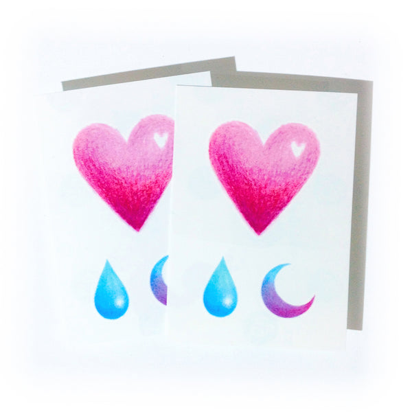 Hear Tattoo Moon Color Tattoo Gradient color tattoo Rain Tattoo Water Droplet Tattoo Minimal Tattoo Heart Tattoo Watercolor Tattoo Rainbow TATTOO LAZY DUO Temporary Tattoo HK Hong Kong Tattoo Shop Little Tattoo Small Tattoo Fake Tattoo