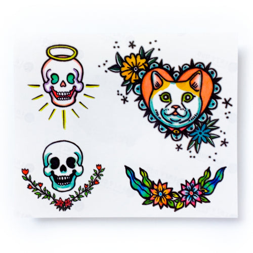 New School Angel & Devil Skull Tattoo Set - LAZY DUO TATTOO