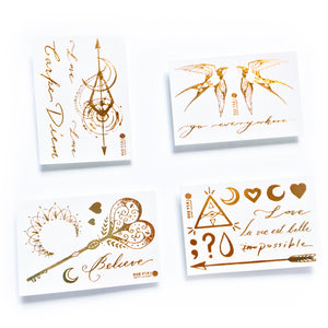 Lettering & Boho White Gold Metallic Tattoo Set - LAZY DUO TATTOO