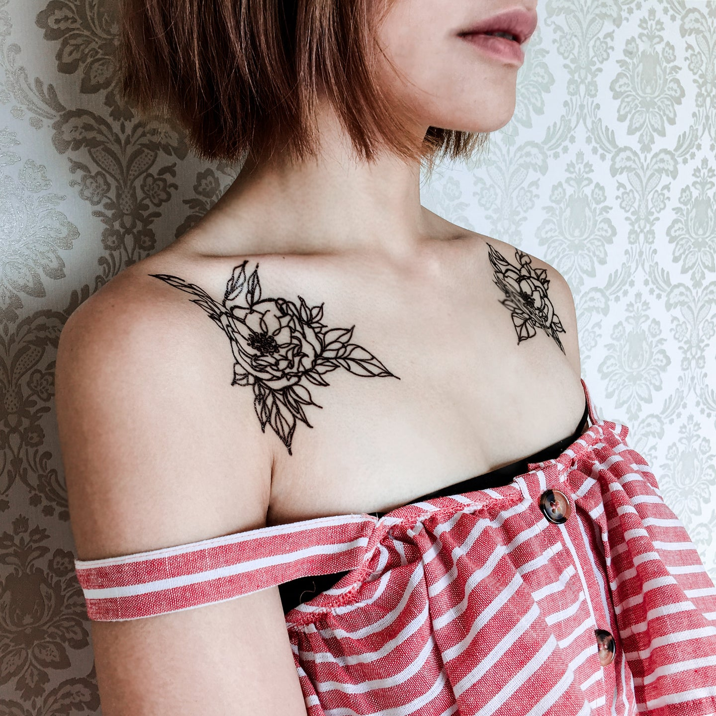 Line Flower Tattoos - LAZY DUO TATTOO