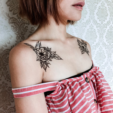 Long Lasting Temporary Tattoo Stickers Simple Line Flower tattoo Flash floral tattoos Bouquet tattoo ankle wrist tattoo back tattoo Taiwan 香港紋身設計刺青 Tattoo Sticker LAce tattoo 紋身師 印刷訂做客製 Custom Temporary Tattoo artist HK tattoo shop Hong Kong 迷你刺青 韓式紋身 small tattoo design Minimal Tattoo little tattoo idea sketchy tattoo floral Flower Bouquet tattoo Neck Tattoo Shoulder Tattoos