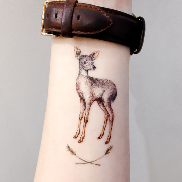 LAZY DUO Deer Bambi Temporary Tattoo Sticker Custom HK水彩小鹿刺青紋身貼紙設計少量印刷訂做客製Hong Kong artist tattoo shop 迷你韓式刺青紋身師