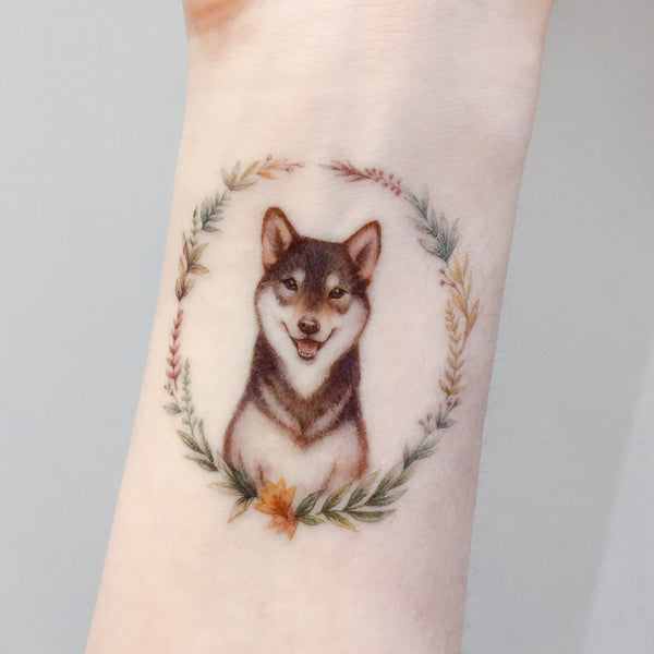 Shiba Flower Cat Tattoos Cute Tattoo Fun Delicate Watercolor LAZY DUO Tattoo Sticker 香港紋身貼紙 刺青圖案 紋身師 印刷訂做客製 Custom Temporary Tattoo artist HK tattoo shop Hong Kong 迷你刺青 韓式刺青紋身 small tattoo design Minimal Tattoo little tattoo idea sketchy tattoo floral tattoo ankle wrist tattoo back tattoo Taiwan