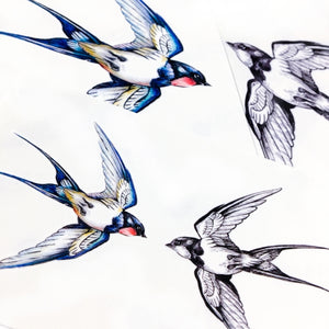 Delicate Watercolor Swallow Tattoos - LAZY DUO TATTOO