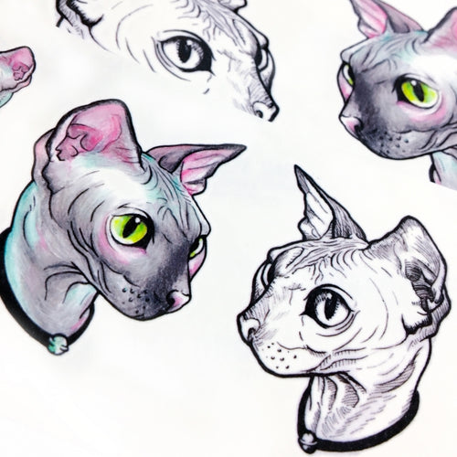 Watercolor Sphynx Cat Tattoos - LAZY DUO TATTOO