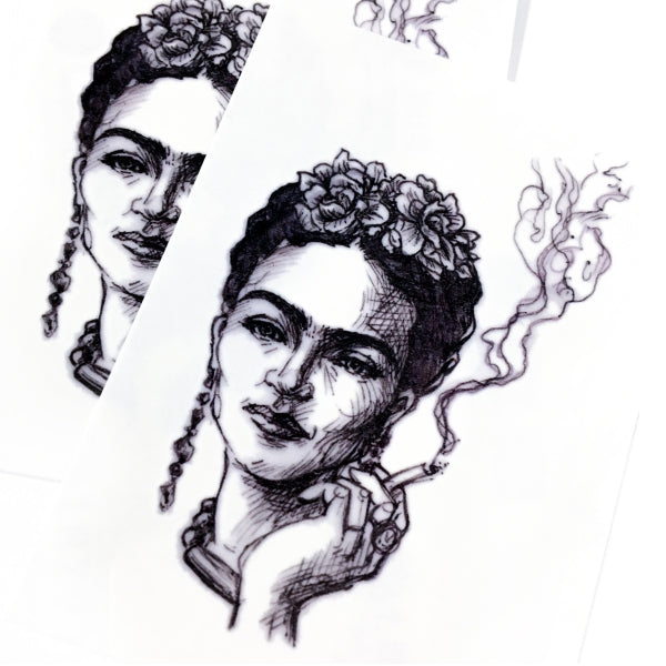 LAZY DUO Frida Kahlo Tattoo Sticker Blackwork Hong Kong HK Artist 弗里達卡羅刺青紋身貼紙 弗里達卡洛 畫家 女性人物 鮮花卉 花束 玫瑰 簡約小清新迷你紋身貼紙印刷訂做客製 Tattoo Sticker Lace tattoo small tattoo design Minimal Tattoo little tattoo idea sketchy tattoo floral Flower Bouquet tattoo ankle wrist tattoo back tattoo Taiwan