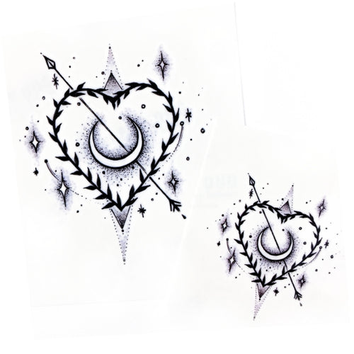 Stars Heart & Moon Tattoo - LAZY DUO TATTOO
