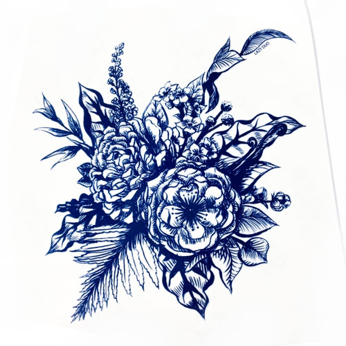 Blue Flower Bouquet Tattoo - LAZY DUO TATTOO