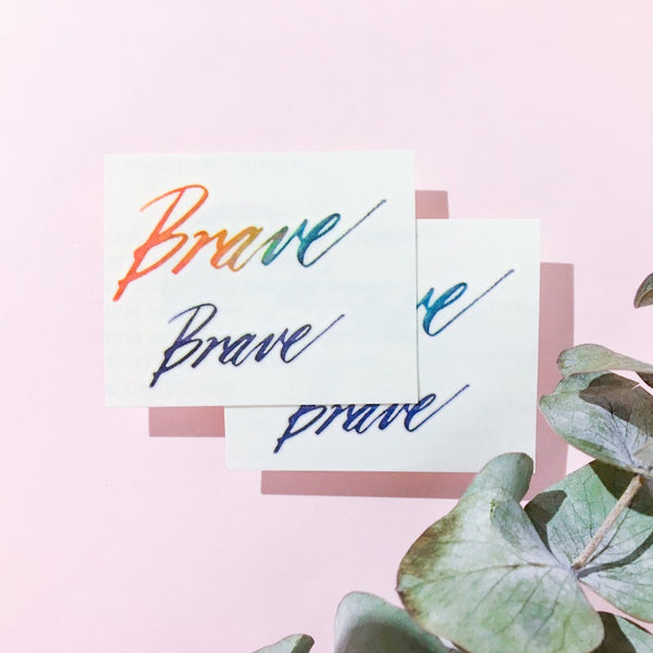 brave Watercolor Lettering Tattoo Words Tattoo Quote Tattoo Nationality Tattoo Watercolor LAZY DUO Tattoo Sticker 香港紋身貼紙 刺青圖案 紋身師 印刷訂做客製 Custom Temporary Tattoo artist HK tattoo shop Hong Kong 迷你刺青 韓式刺青紋身 small tattoo design Minimal Tattoo little tattoo idea sketchy tattoo floral tattoo ankle wrist tattoo back tattoo Taiwan