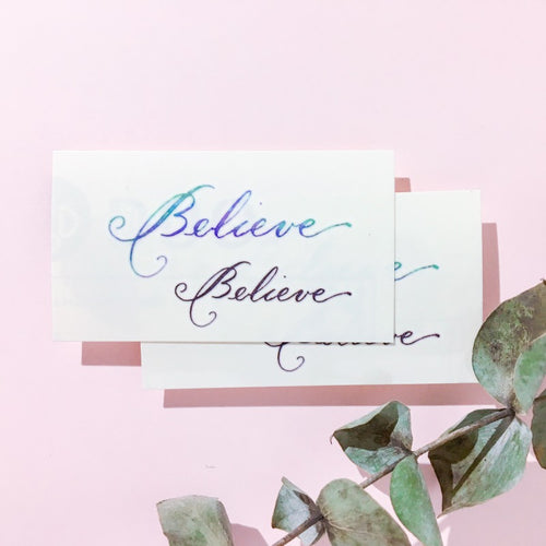Watercolor Lettering Tattoo・Believe - LAZY DUO TATTOO