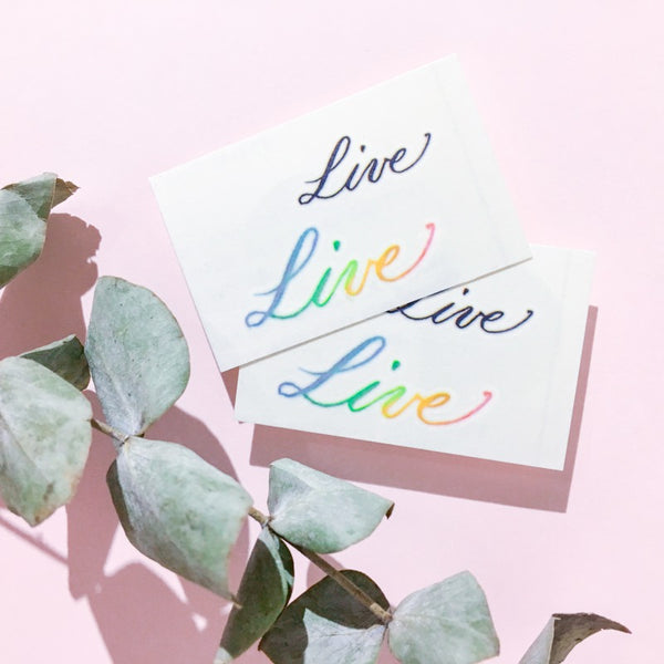 Live Colorful Delicate Minimal Tattoo Lettering Tattoo Words Tattoo Quote Tattoo Nationality Tattoo Watercolor LAZY DUO Tattoo Sticker 香港紋身貼紙 刺青圖案 紋身師 印刷訂做客製 Custom Temporary Tattoo artist HK tattoo shop Hong Kong 迷你刺青 韓式刺青紋身 small tattoo design Minimal Tattoo little tattoo idea sketchy tattoo floral tattoo ankle wrist tattoo back tattoo Taiwan