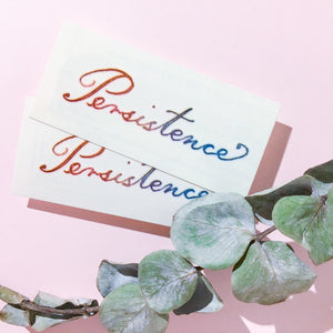 Watercolor Lettering Tattoo・Persistence ( Large ) - LAZY DUO TATTOO