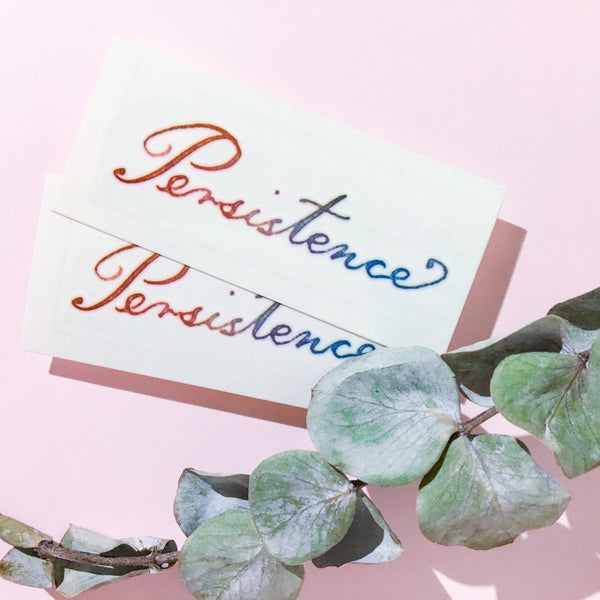 Persistence 堅持 刺青紋身 Dream Rainbow Colorful Delicate Minimal Tattoo Lettering Tattoo Words Tattoo Quote Tattoo Nationality Tattoo Watercolor LAZY DUO Tattoo Sticker 香港紋身貼紙 刺青圖案 紋身師 印刷訂做客製 Custom Temporary Tattoo artist HK tattoo shop Hong Kong 迷你刺青 韓式刺青紋身 small tattoo design Minimal Tattoo little tattoo idea sketchy tattoo floral tattoo ankle wrist tattoo back tattoo Taiwan