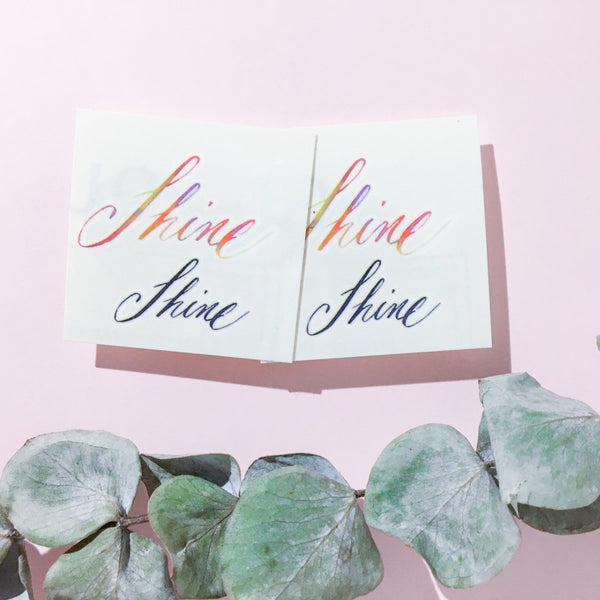 Shine Watercolor Lettering Tattoo Words Tattoo Quote Tattoo Nationality Tattoo Watercolor LAZY DUO Tattoo Sticker 香港紋身貼紙 刺青圖案 紋身師 印刷訂做客製 Custom Temporary Tattoo artist HK tattoo shop Hong Kong 迷你刺青 韓式刺青紋身 small tattoo design Minimal Tattoo little tattoo idea sketchy tattoo floral tattoo ankle wrist tattoo back tattoo Taiwan