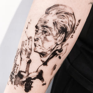 Yasunari Kawabata Ink-wash Portrait Tattoo - LAZY DUO TATTOO