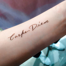 Load image into Gallery viewer, Positive Vibes Lettering Tattoo.Carpe Diem Tattoo - LAZY DUO TATTOO