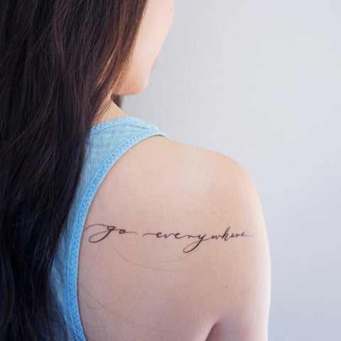 Go everywhere Blue Indigo travel explore Lettering Tattoo Words Tattoo Quote Tattoo Nationality Tattoo Watercolor LAZY DUO Tattoo Sticker 香港紋身貼紙 刺青圖案 紋身師 印刷訂做客製 Custom Temporary Tattoo artist HK tattoo shop Hong Kong 迷你刺青 韓式刺青紋身 small tattoo design Minimal Tattoo little tattoo idea sketchy tattoo floral tattoo ankle wrist tattoo back tattoo Taiwan