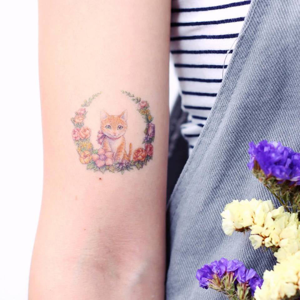 Watercolor Floral Kitten and Shiba Tattoo - LAZY DUO TATTOO