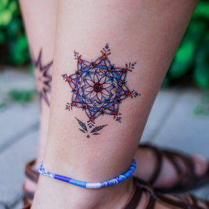 Stained Glass Blue Flower Tattoo|LAZY DUO TEMPORARY TATTOO STICKER SHOP HK Alchemist Design Store HK HONG KONG 紋身貼紙 香港紋身認領圖 文青 美式花紋身tattoohk hongkongtattoo 小圖刺青 fine-line tattoo 簡約刺青 minitattoo linetattoo tattooartist 香港刺青 MANE INK