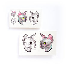 Load image into Gallery viewer, Watercolor Sphynx Cat Tattoos - LAZY DUO TATTOO