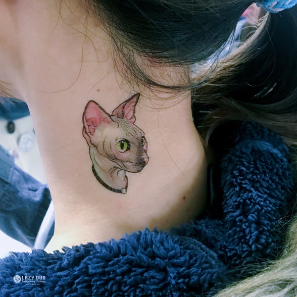 Watercolor Sphynx Cat Tattoos