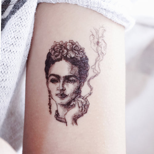 FRIDA KAHLO ARTIST MEXICO Realistic Artistic Tattoo Sticker Color Metallic Tattoo預約紋身貼紙設計印刷訂製作DIY Waiman Tattoo Artist 香港原創手繪刺青紋身貼紙 LAZY DUO Premium  High Quality Temporary Tattoo Stickers Professional Printing Tattoo Shop Hong Kong Customise Custom Small Order 自訂客製少量印刷大量批發特快專業優質彩色金屬色廣告宣傳禮品 Gift Promotion Advertising