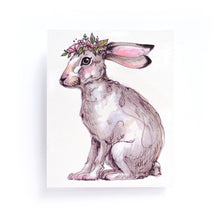 Load image into Gallery viewer, Watercolor Bunny with Flower Band Tattoos - LAZY DUO TATTOO