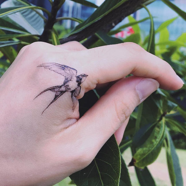 821cca4d93301 Tiny Small Fineline Watercolor Delicate Swallow Tattoo Sticker Bird  Temporary Tattoo HK Hong Kong Vintage Classic