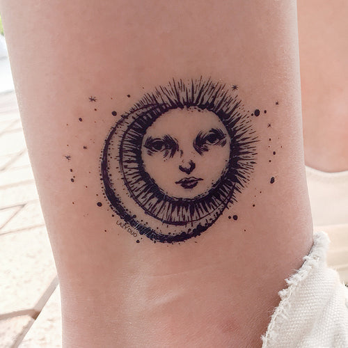 Sun & Moon Tattoo - LAZY DUO TATTOO