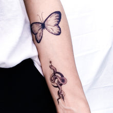 Load image into Gallery viewer, Blue Butterfly Tattoo - LAZY DUO TATTOO