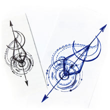 Load image into Gallery viewer, Arrow Spiral & Moon Tattoo - LAZY DUO TATTOO