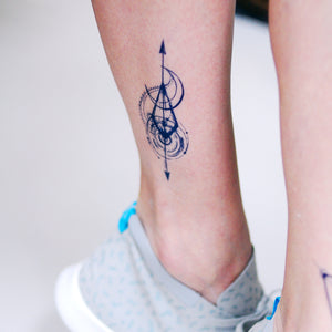 Arrow Spiral & Moon Tattoo - LAZY DUO TATTOO