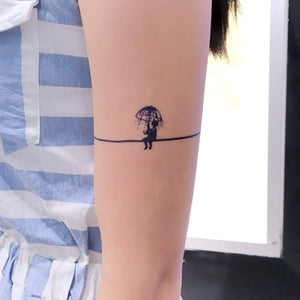Little Boy in the Rain Line Tattoo - LAZY DUO TATTOO